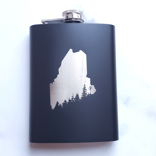 Maine Tree Laser Engraved Black Flask