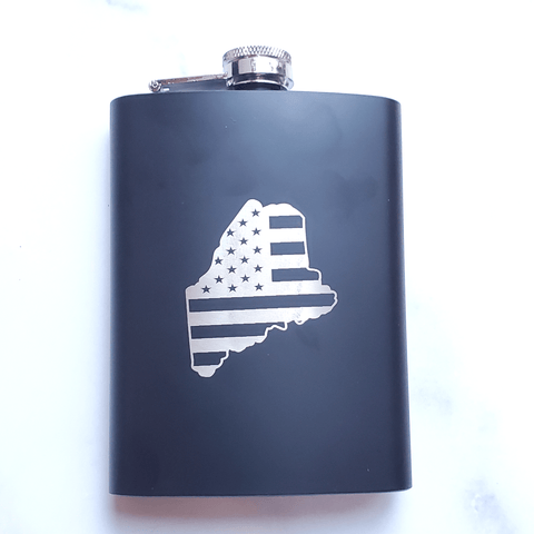 Maine Flag Laser Engraved Black Flask