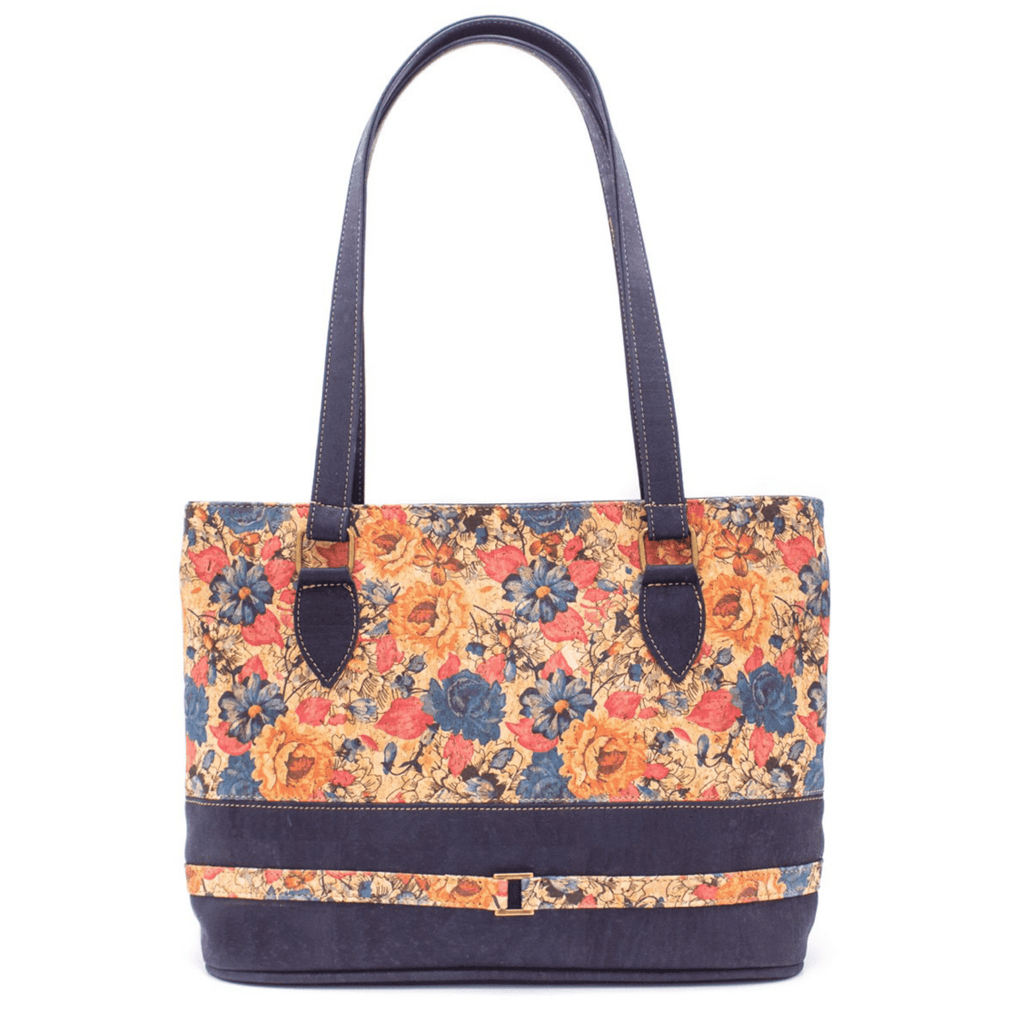 Navy Floral Cork Tote Bag