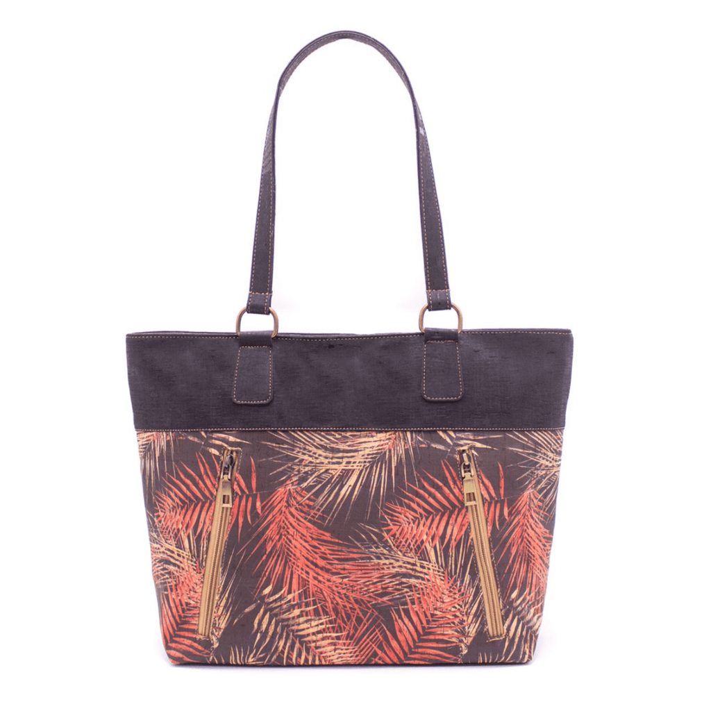 Black Autumn Palm Cork Zipper Tote