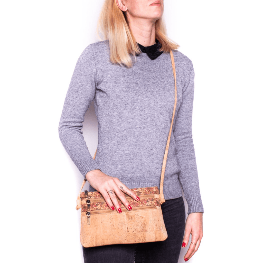 Tan  Cork Paisley Messenger Bag