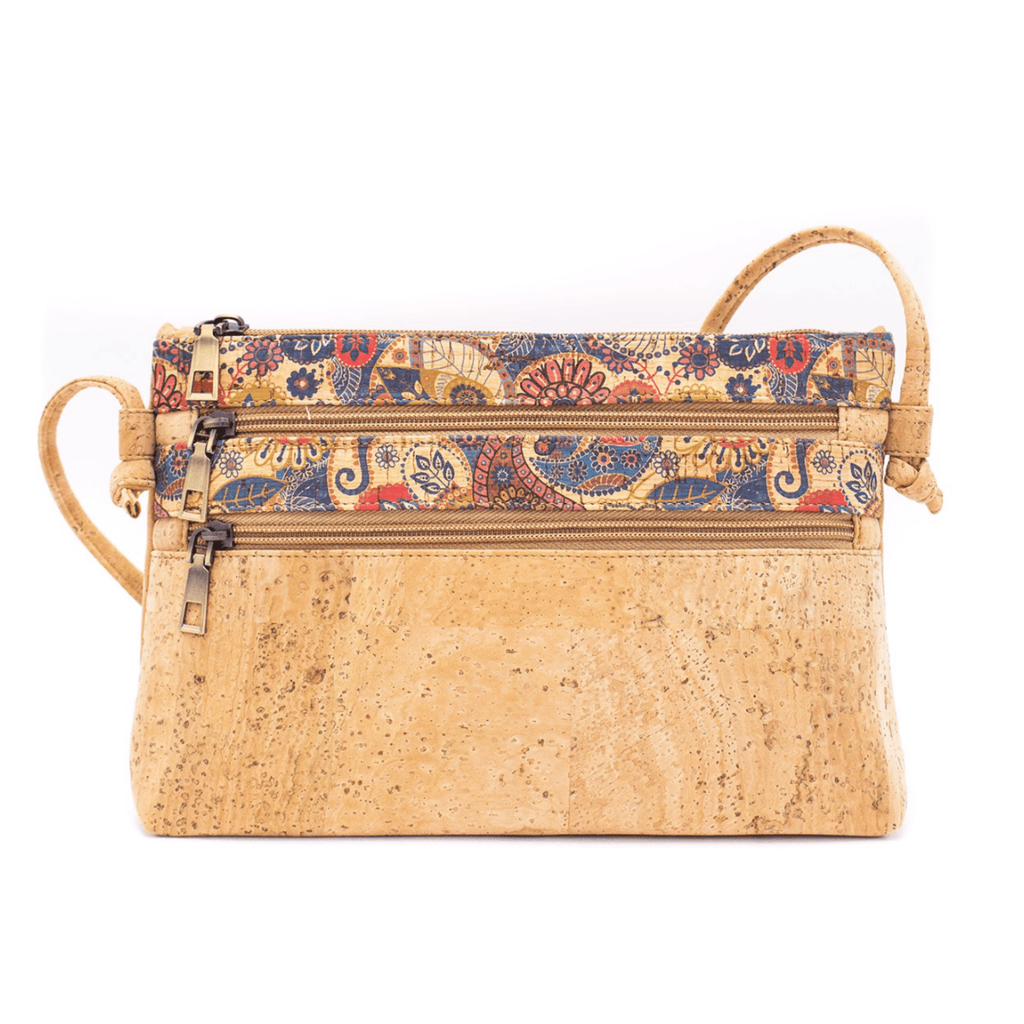 Tan Cork Floral Messenger Bag
