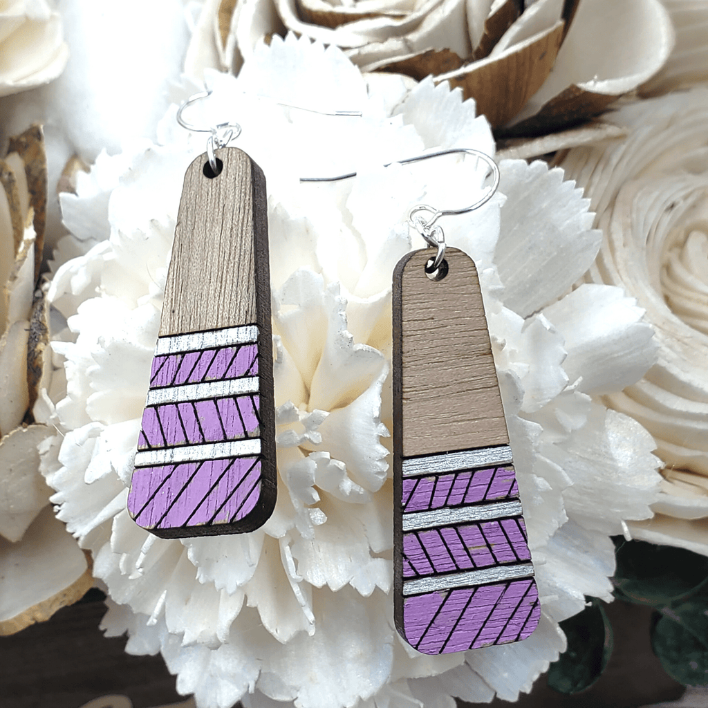 Lilac Painted Walnut Drop Sterling Earrings