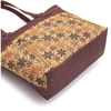 Brown Autumn Floral Cork Zipper Tote