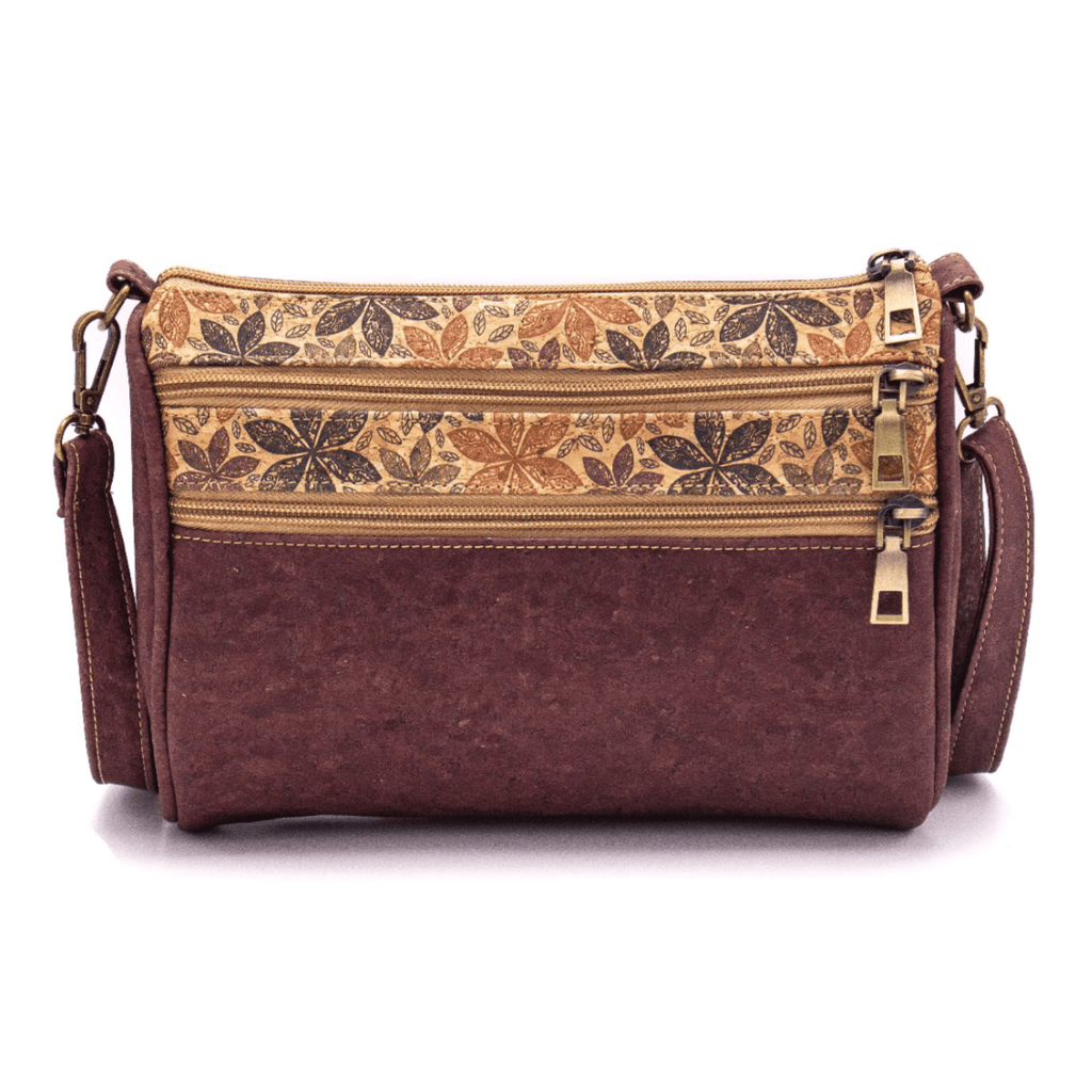 Brown & Autumn Floral Cork Triple Zipper Bag
