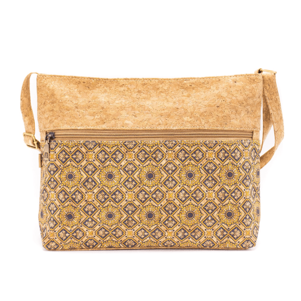 Navy Ceramic Pattern Cork Adjustable Crossbody