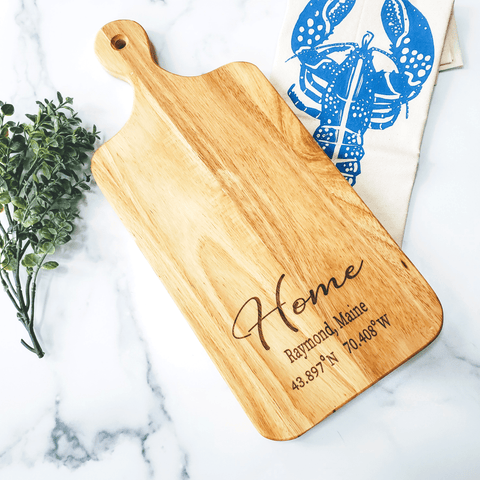 Custom Home Coordinates Charcuterie Wood Cutting Board