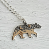 Bear and Mountains Pendant Sterling Silver Necklace