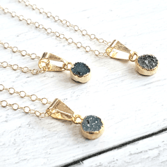 Petite Green Druzy Gold Necklace