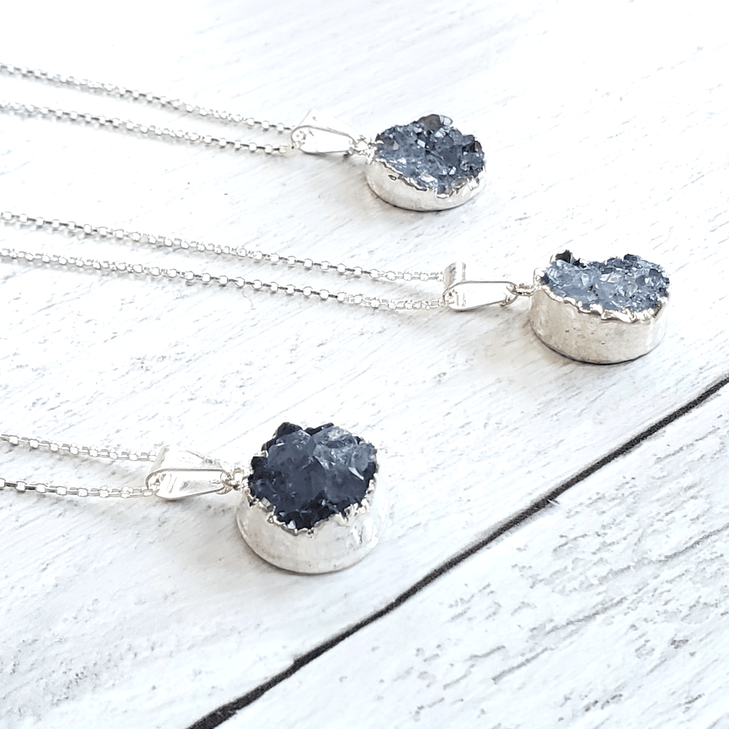 Blue Druzy Electroplated Silver Necklace