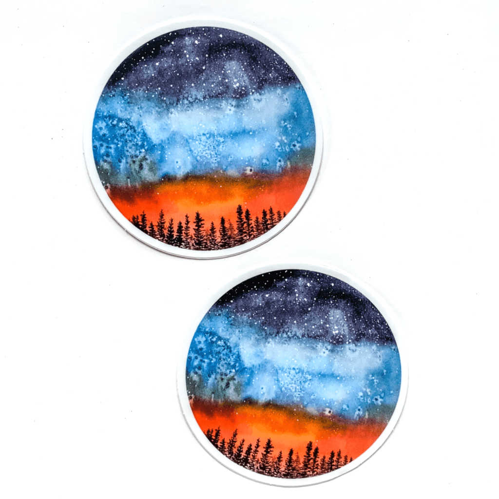 Forest Night Sky Circle Sticker