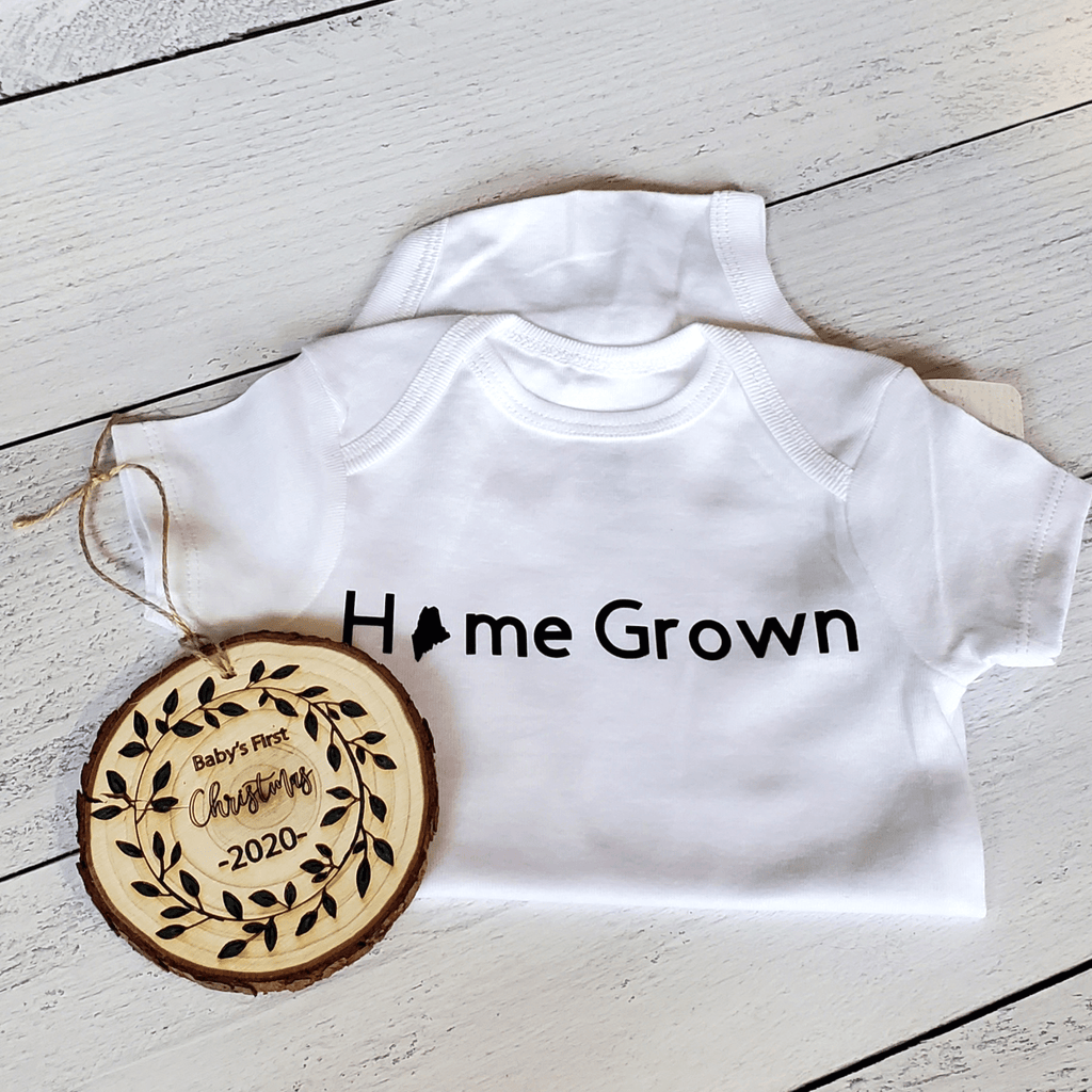 Home Grown Maine Baby Bodysuit, White