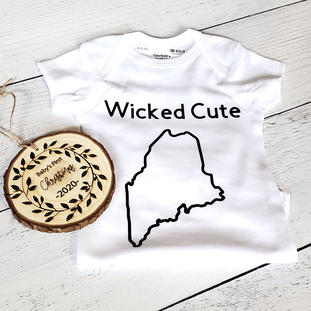 Wicked Cute Maine Outline Baby Bodysuit, White