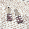 Maroon Painted Walnut Drop Sterling Earrings