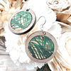 Walnut Wood Cork Circle Sterling Earrings