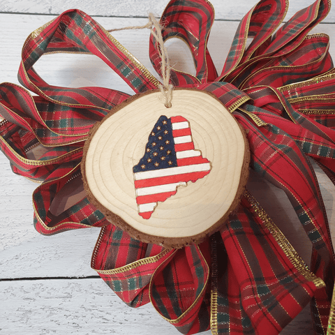 Maine Flag Wood Slice Ornament