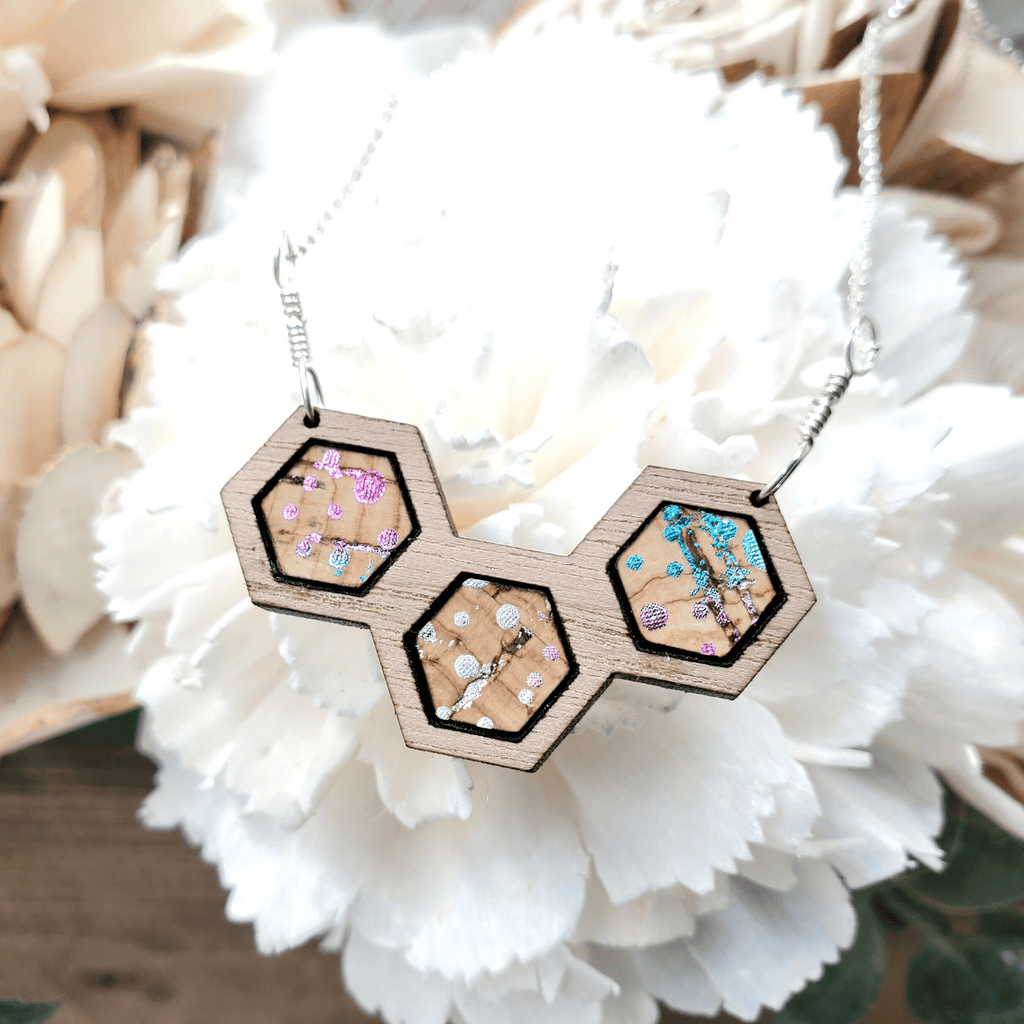 Rainbow Dot Cork Walnut Wood Hexagon Sterling Silver Necklace
