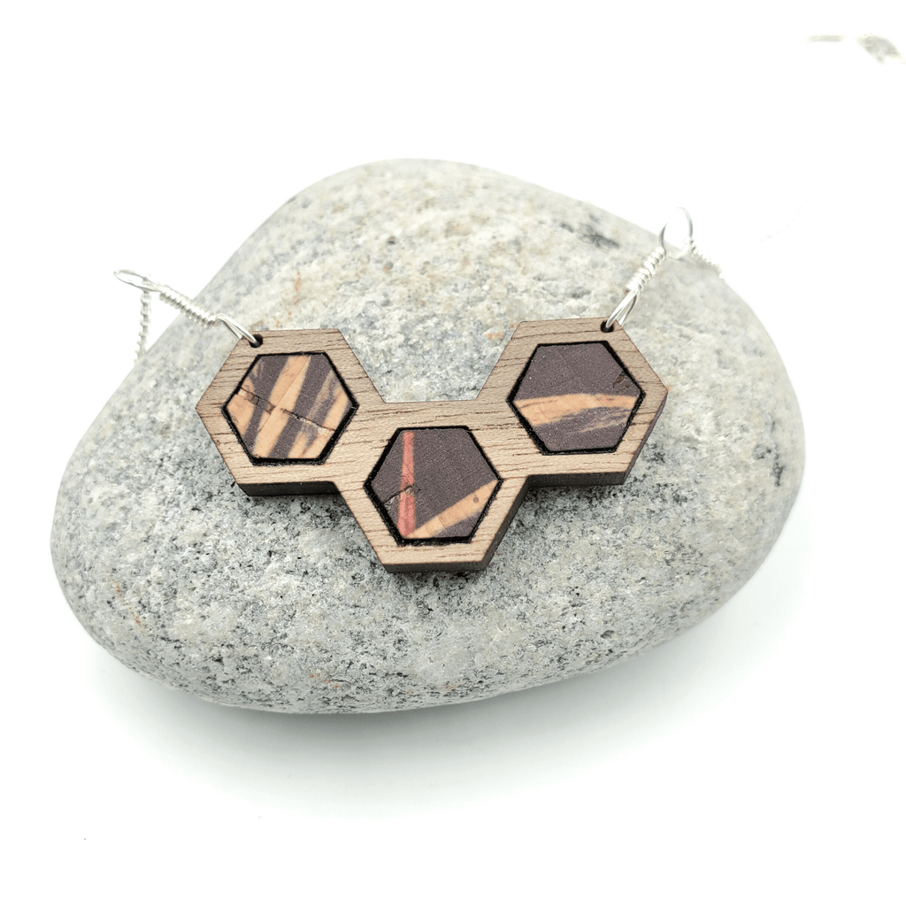 Palm Cork Walnut Wood Hexagon Sterling Silver Necklace