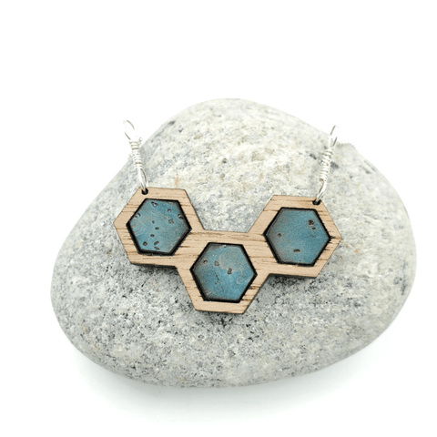 Blue Cork Walnut Wood Hexagon Sterling Silver Necklace