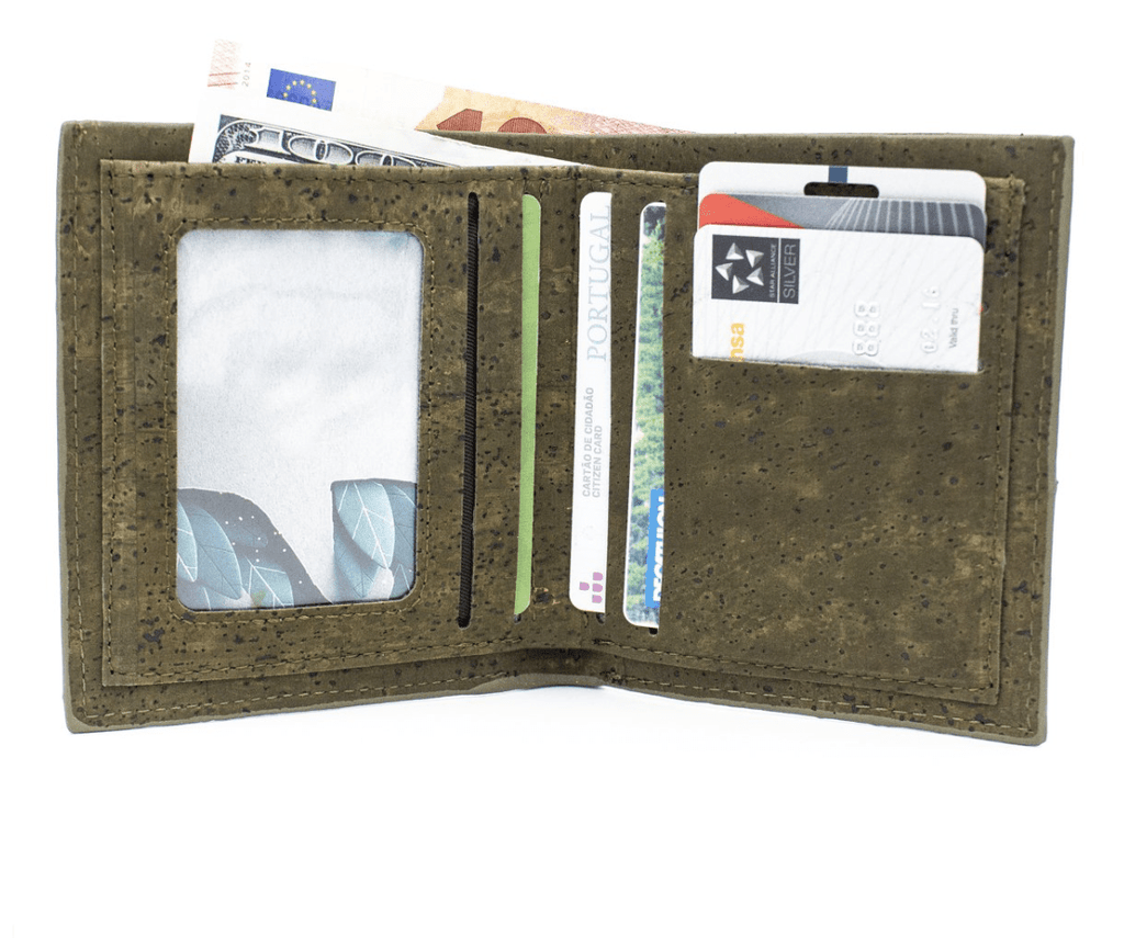 Sage Green Cork Men's Wallet with ID Slot