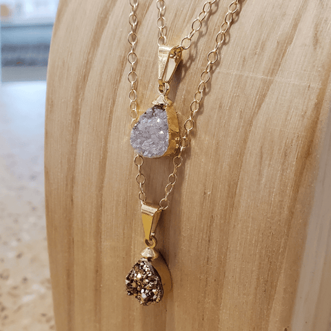 Rose Druzy Quartz Teardrop Gold Electroplated Necklace