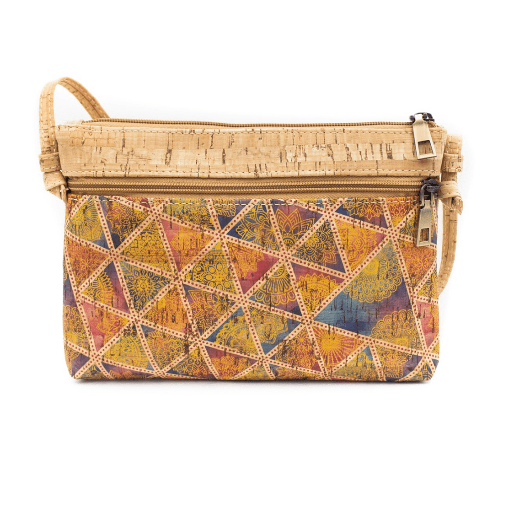 Bright Geometric Cork Messenger Bag