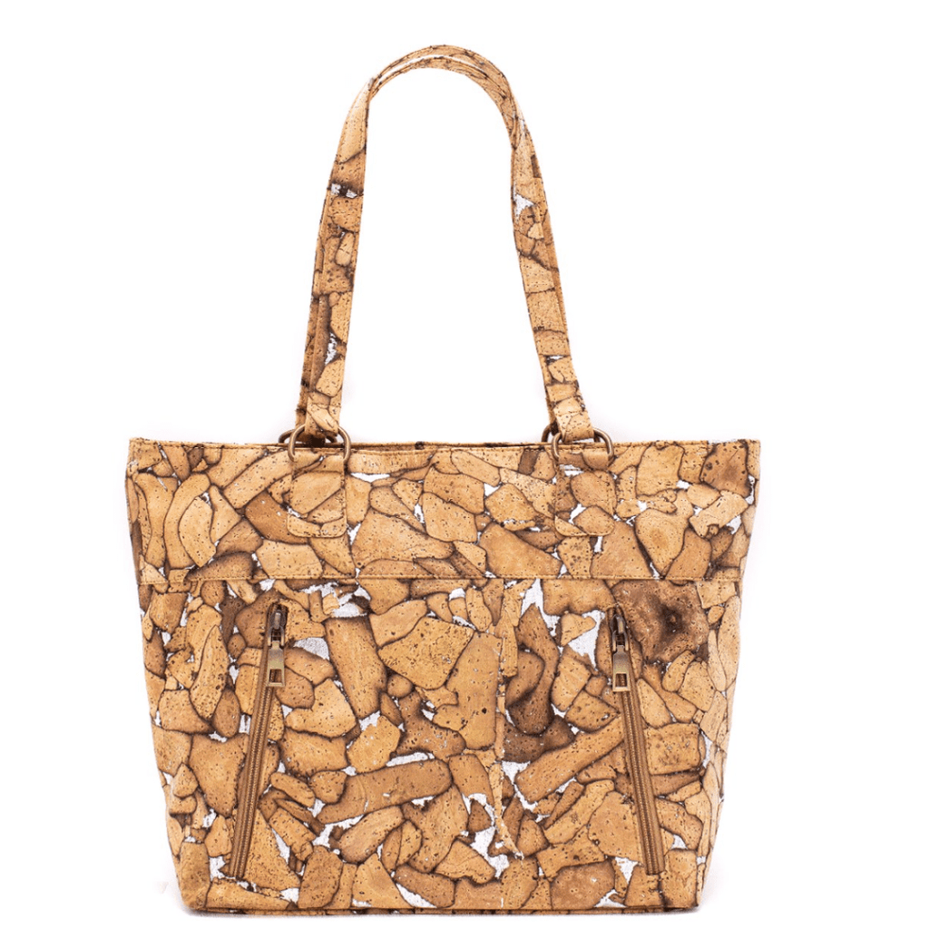 Wood Grain Cork Zipper Tote