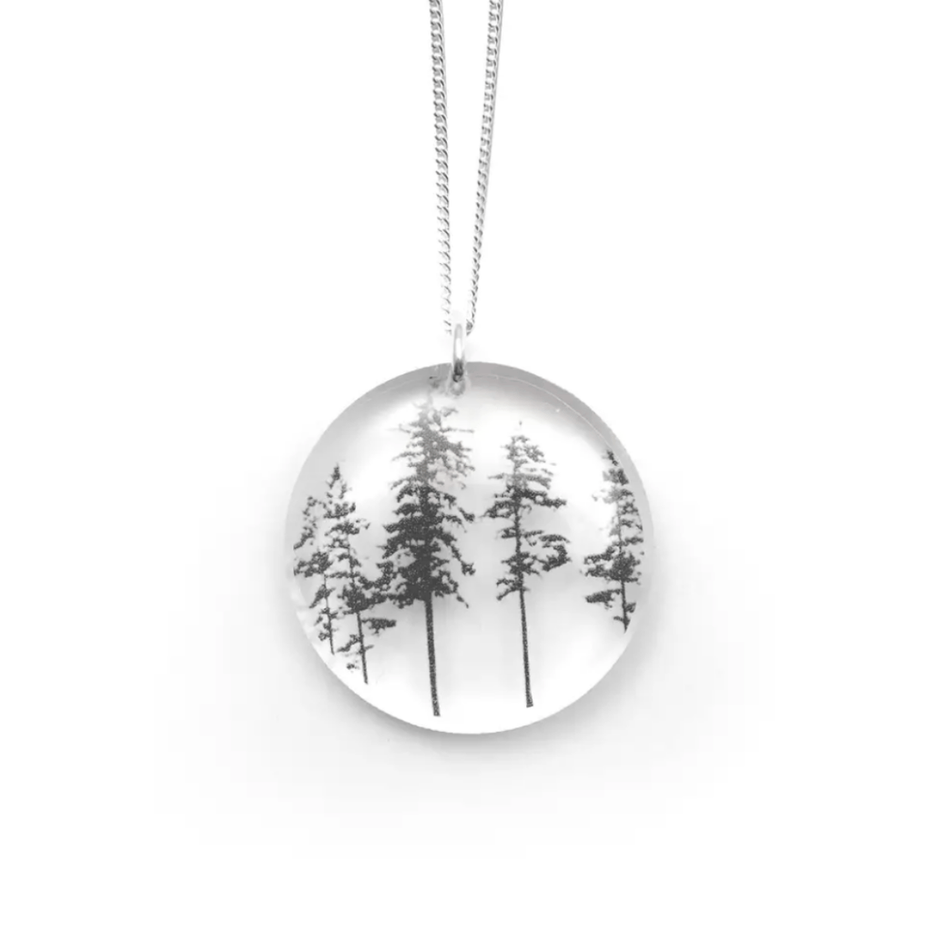 Tree Black & White Circle Necklace, Sterling Silver