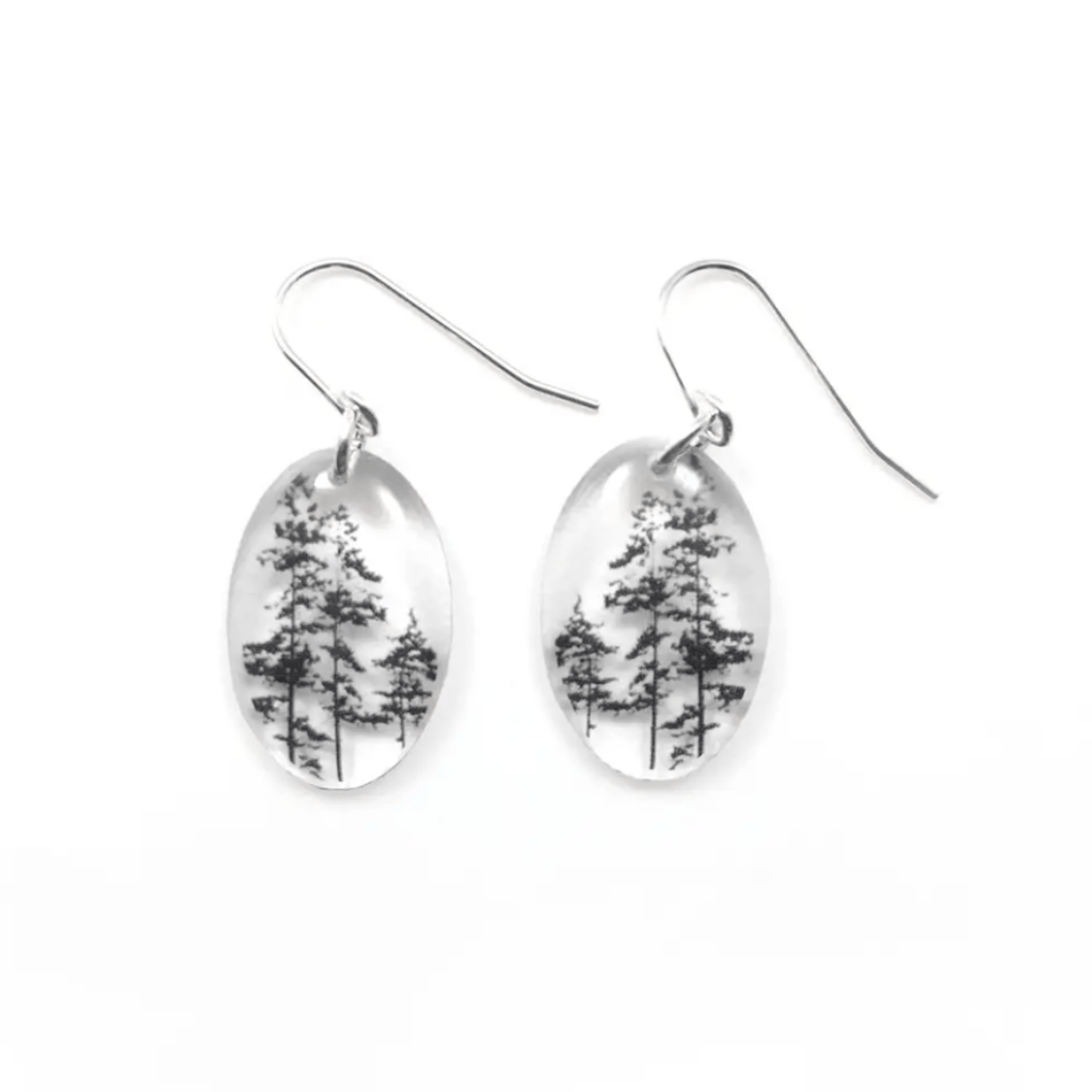 Small Oval Tree Earrings, Sterling Silver