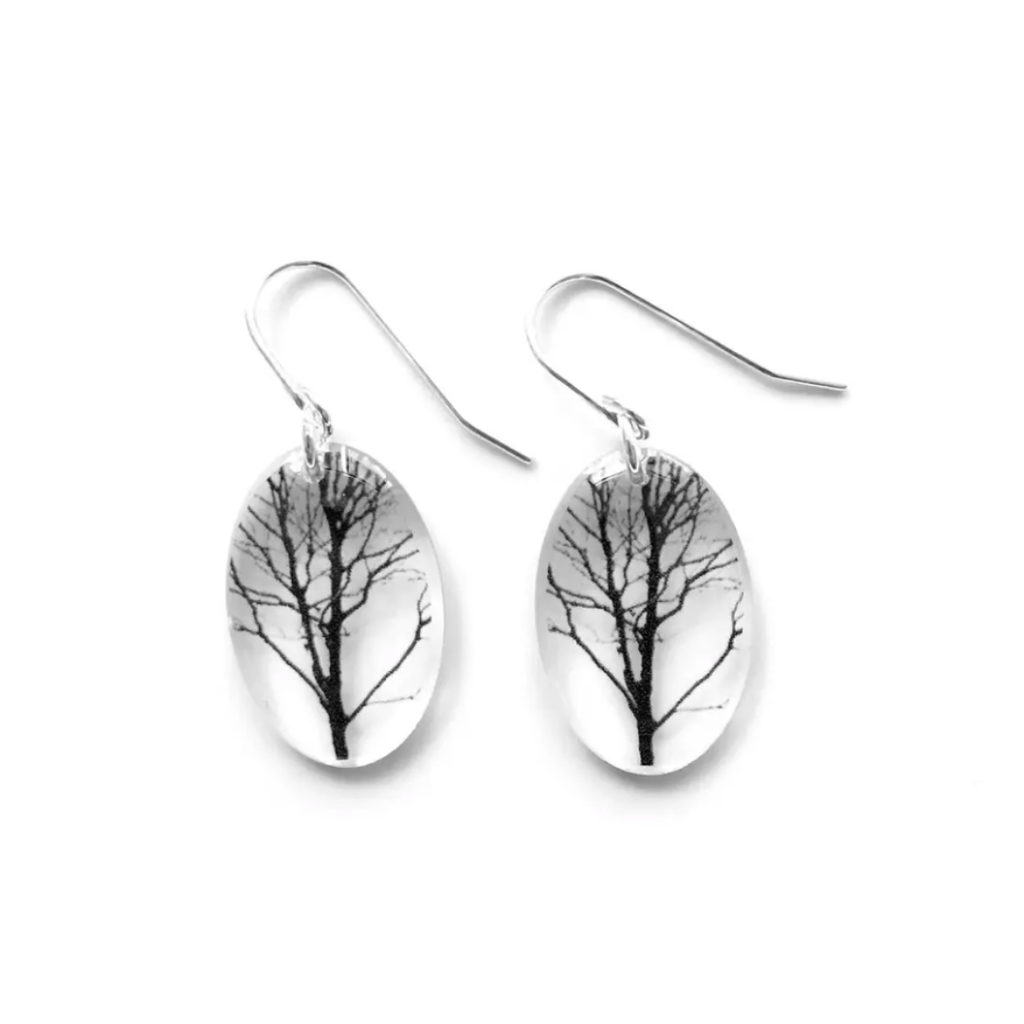 Small Oval Forest Earrings, Sterling Silver