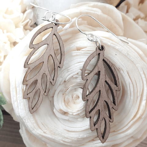 Walnut Open Leaf Sterling Earrings