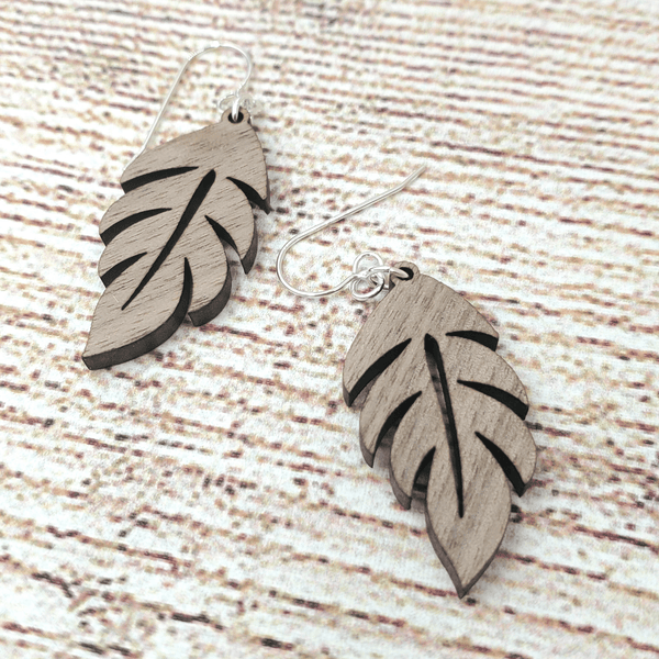 Walnut Palm Leaf Sterling Earrings