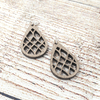 Walnut Grid Drop Sterling Earrings
