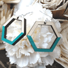 Teal Painted Maple Geometric Sterling Earrings