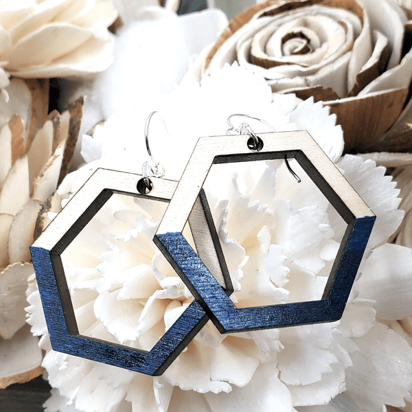 Navy Painted Maple Geometric Sterling Earrings