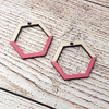 Coral Painted Maple Geometric Sterling Earrings