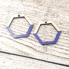 Purple Painted Maple Geometric Sterling Earrings