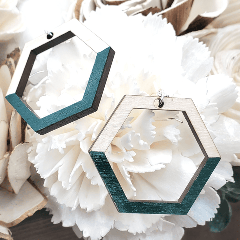 Forest Green Painted Maple Geometric Sterling Earrings