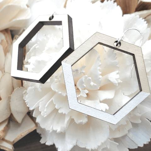 White Painted Maple Geometric Sterling Earrings