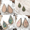 Walnut Wood Cork Teardrop Sterling Earrings