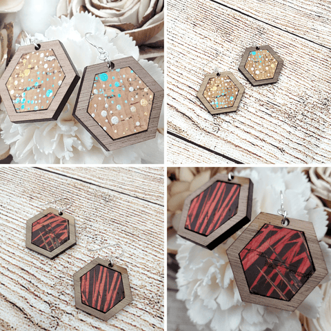 Walnut Wood Cork Hexagon Sterling Earrings