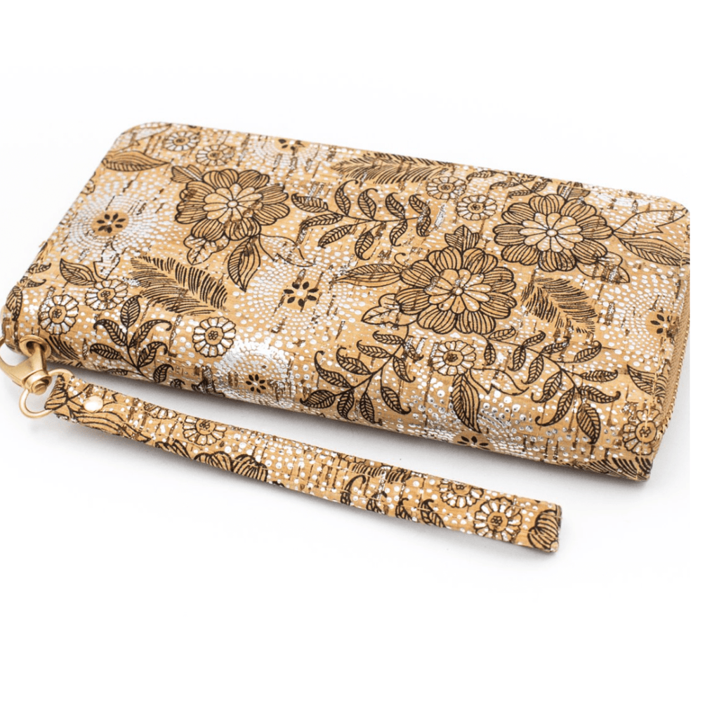 Floral Cork Women's Zipper Clutch Wallet