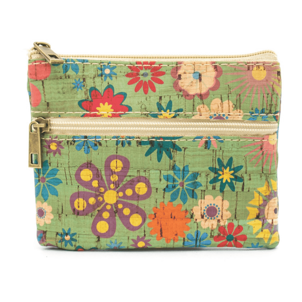 Green Floral Cork Coin Zip Purse