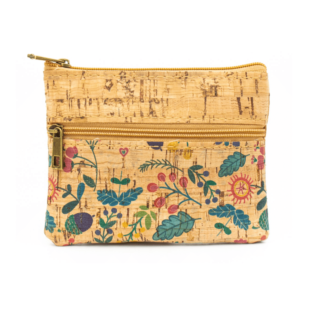 Summer Floral Cork Coin Zip Purse