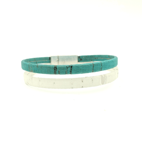 White & Teal Thin Cork Bracelet
