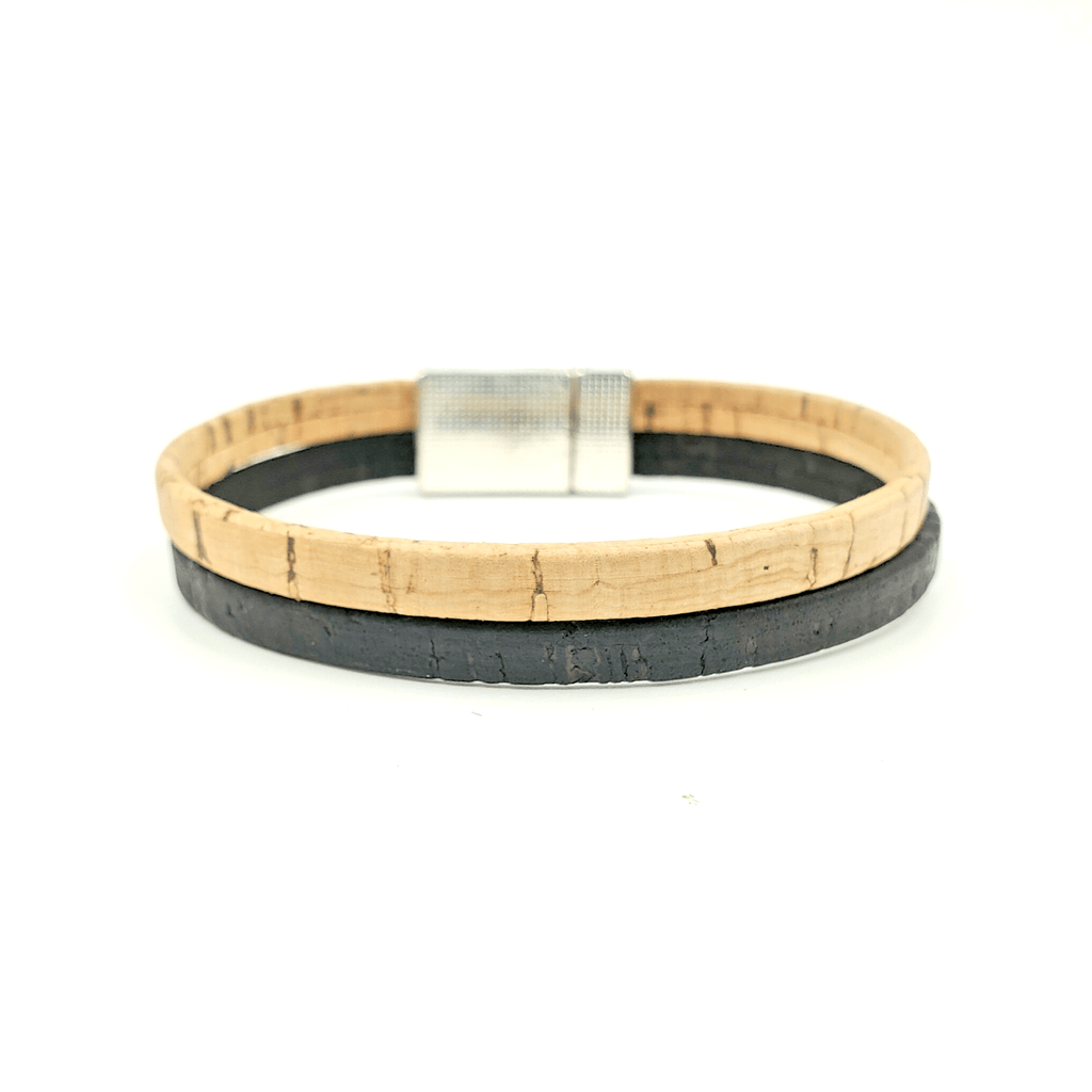 Tan & Black Thin Cork Bracelet
