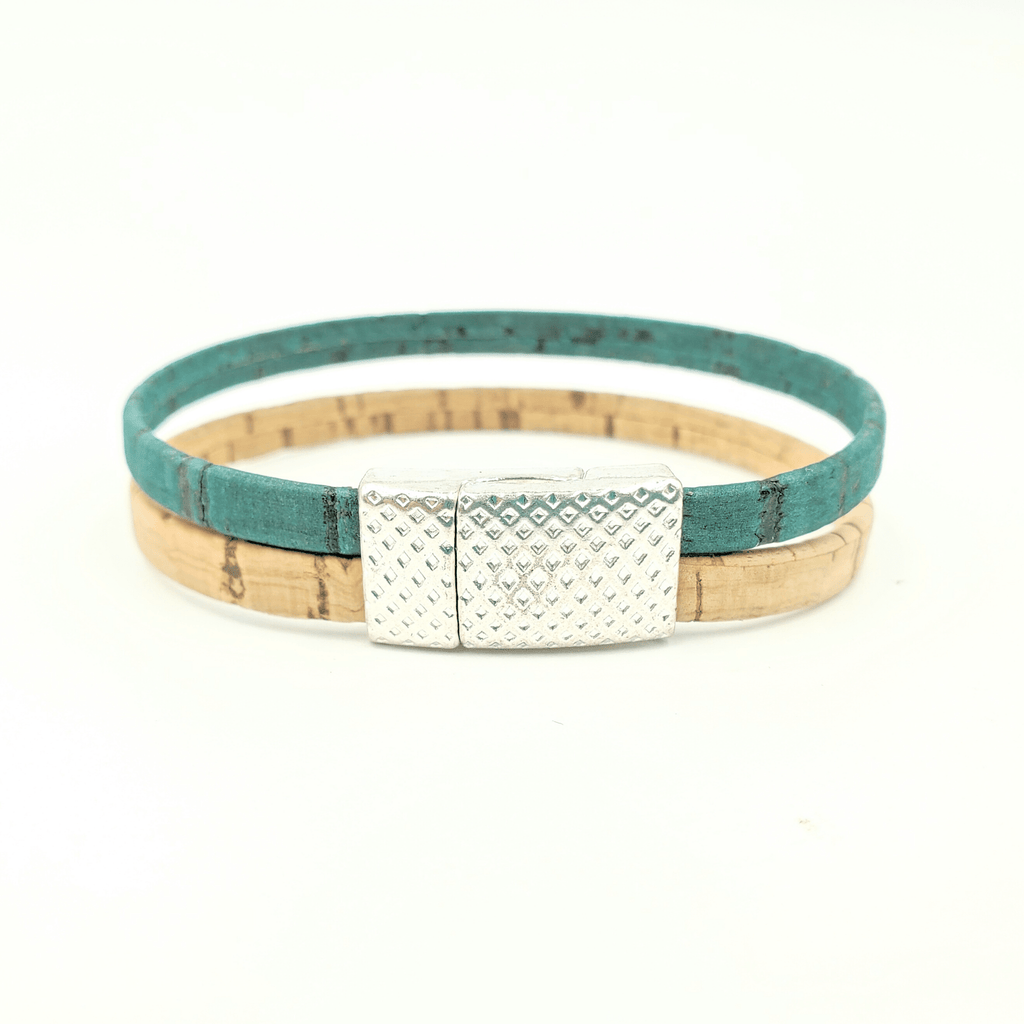 Tan & Teal Thin Cork Bracelet
