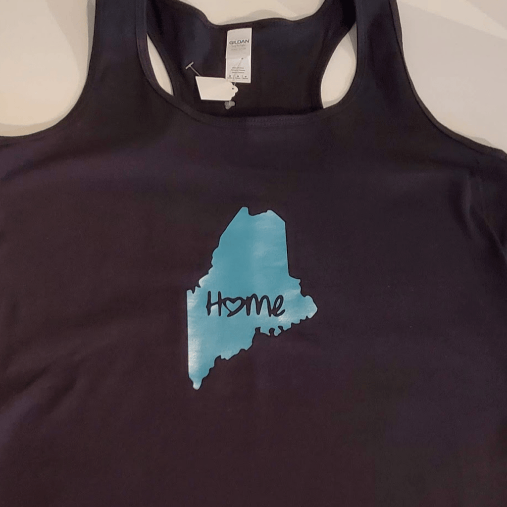 Maine Home Tank Top, Black & Teal