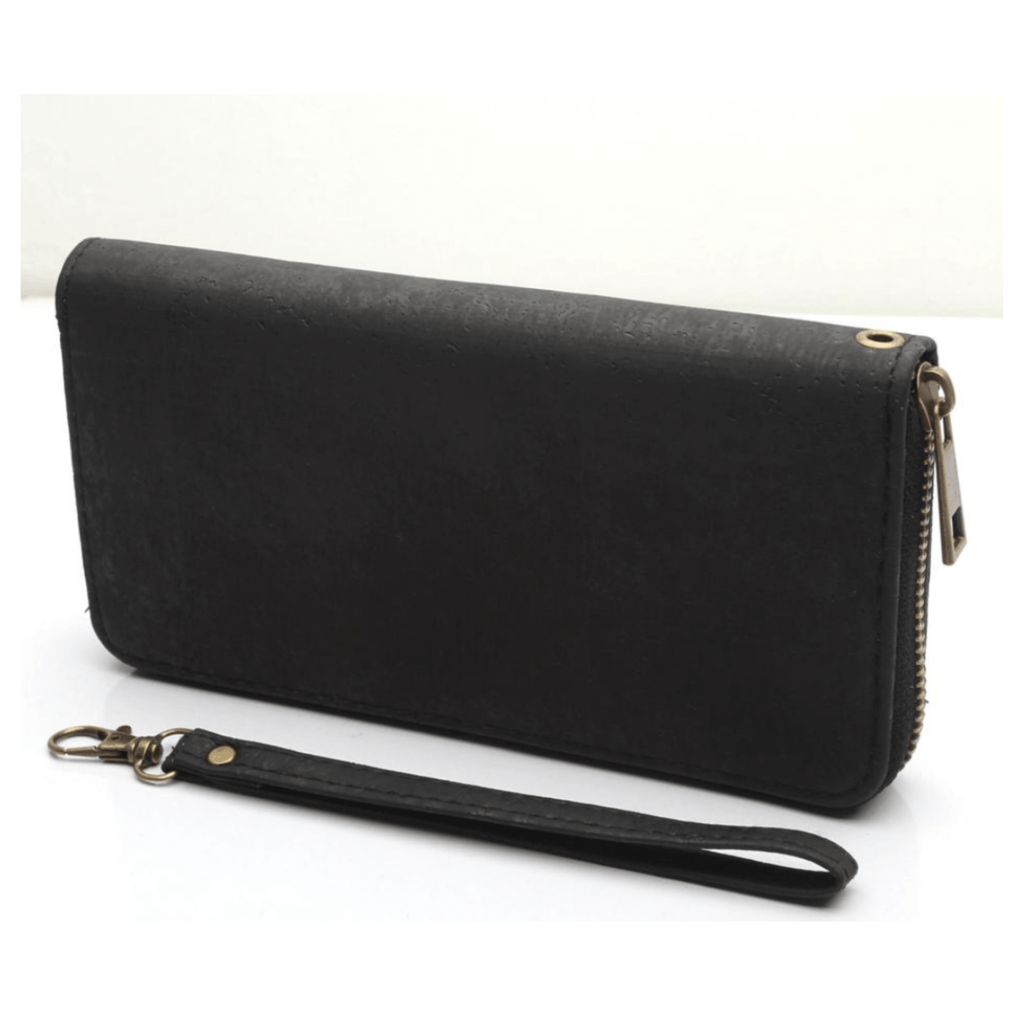 Black Cork Women's Zipper Clutch Wallet