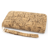 Wood Grain Checkered Cork Women's Zipper Clutch Wallet
